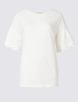 Per Una Pure Cotton Broderie Sleeve T-Shirt