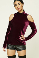 Forever 21 FOREVER 21+ Velvet Open-Shoulder Top