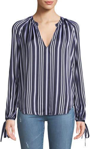 AG Jeans Karina Striped V-Neck Long-Sleeve Top