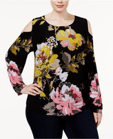 INC International Concepts Plus Size Floral-Print Cold-Shoulder Top, Only at Macy's