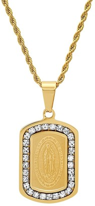 Anthony Jacobs Our Lady of Guadalupe 18K Goldplated Stainless Steel & Simulated Diamond Dog Tag Pendant Necklace