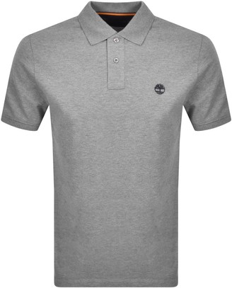 Timberland Logo Short Sleeved Polo T Shirt Grey