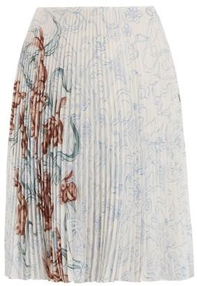 Prada Pleated Rabbit-print Skirt - Womens - Blue Print