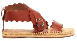 Chloé Lauren Scalloped Edge Leather Espadrille Sandals - Womens - Brown