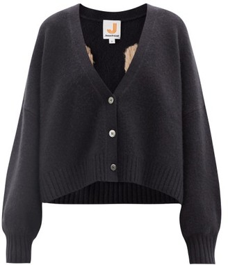 JoosTricot Smiley-embroidered Merino Wool-blend Cardigan - Black