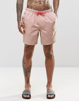 Asos Swim Shorts In Pastel Pink With Neon Drawcord In Mid Length