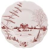 Juliska Country Estate Scallop Dinner Plate Winter Frolic, Christmas Eve Ruby
