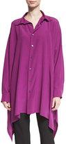 eskandar Long Button-Front Silk Top, Damson