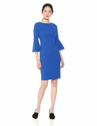 Calvin Klein Women's Circle Trim at Bell Sleeve Cuff Sheath Cd8c16hm