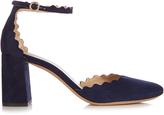Chloé Lauren scallop-edged block-heel suede sandals