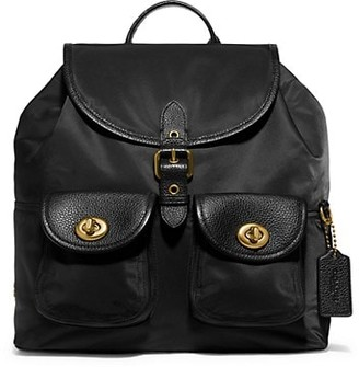 Coach Leather-Trimmed Nylon Backpack