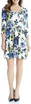 Karen Kane New Leaf Printed A-Line Scoop Neck 3/4 Sleeve Taylor Dress