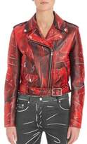 Moschino Faded Faux Leather Moto Jacket