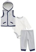 Little Me Infant Boy's Hooded Vest, Bodysuit & Pants Set