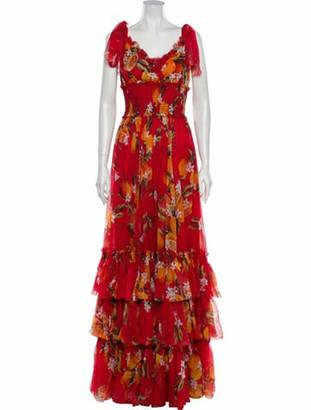 Dolce & Gabbana Silk Long Dress Red