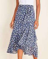 Ann Taylor Petite Floral Wrap Flounce Skirt