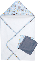 Trend Lab Blue Baby Barnyard Hooded Towel & Washcloth Set