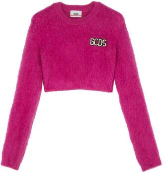 GCDS Embellished Wool-Blend Cropped Sweater