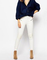 Pepe Jeans Skinny Biker With PU Knee Detail