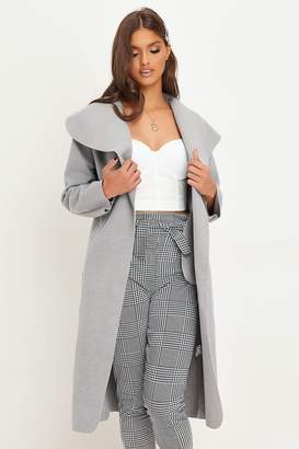 I SAW IT FIRST Grey Waterfall Belted Duster Jacket