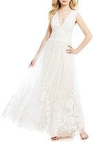 Tadashi Shoji Deep V-Neck Lace & Tulle Ball Gown