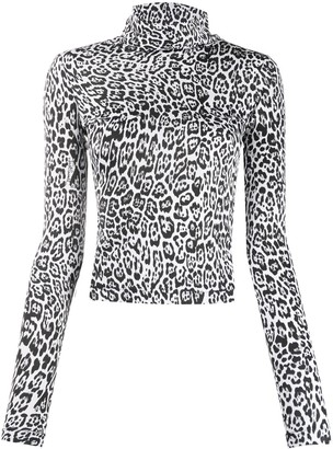 Just Cavalli Leopard Roll-Neck Top