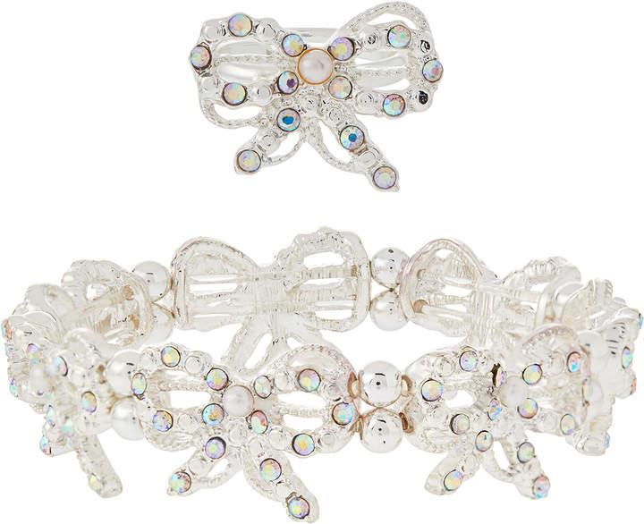 Monsoon Diamante Bow Stretch Bracelet & Ring