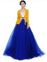 The Bazaar R Women High Bowknot Empire Waist Multilayer Long Maxi Skirt