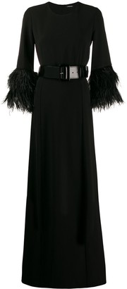 P.A.R.O.S.H. Long Feather Detail Dress