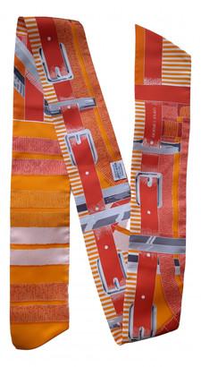 Hermã ̈S HermAs Maxi twilly Orange Silk Scarves