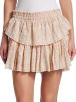 LoveShackFancy Ruffle Eyelet Mini Skirt