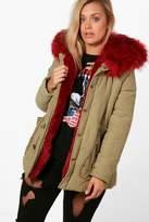 boohoo Plus Janey Faux Fur Collar Parka