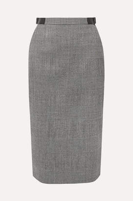 Altuzarra Bolan Leather-trimmed Prince Of Wales Checked Wool-blend Skirt - Gray
