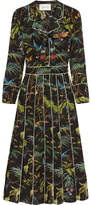 Gucci Embellished Printed Silk Crepe De Chine Midi Dress - Black