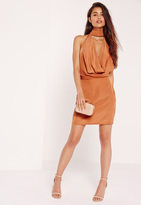 Missguided Silky Choker Neck Cowl Shift Dress Tan