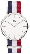 Daniel Wellington Classic Nato Cambridge Silver Watch Red/White/Blue