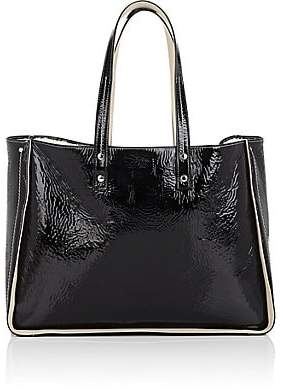 Fontana Milano Women's Tum Tum Shearling-Lined Patent Leather Tote Bag - Black