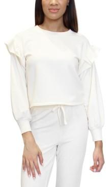 Almost Famous Juniors' Ruffle-Trimmed Fleece Sweatshirt