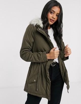 Brave Soul parka jacket with bird back print in khaki