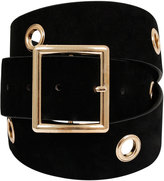 Yours Clothing Black Suedette Belt With Gold Eyelet Detail