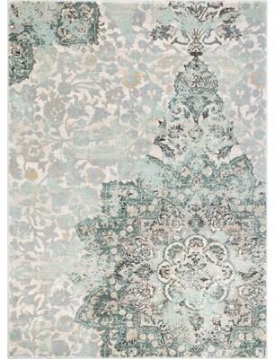 "Bungalow Rose Aya Distressed Medallion Floral Blue Area Rug Rug Size: Rectangle 9'3"" x 12'6"""