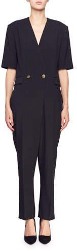 Stella McCartney Cecilia V-Neck Short-Sleeve Straight-Leg Crepe Jumpsuit