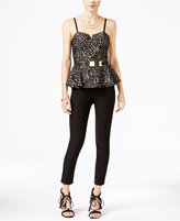Material Girl Juniors' Lace Peplum Jumpsuit, Only at Macy's