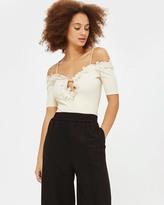Topshop Floral Applique Bardot Bodysuit