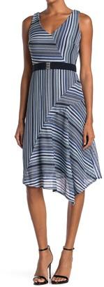 Gabby Skye Striped Sleeveless Belted Midi Dress