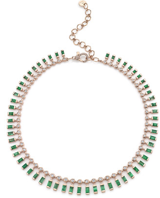 Shay 18K Rose Gold Dot Dash Emerald and Diamond Necklace