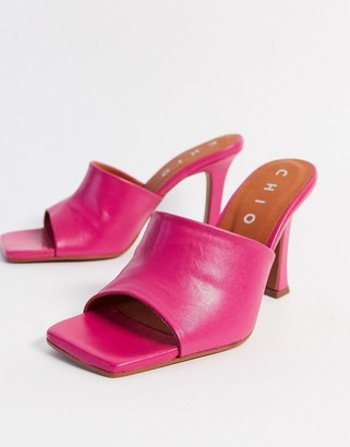 CHIO heeled leather mules with square toe in fuchsia leather