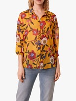 French Connection Eloise Sheer Crinkle Floral Shirt, Mustard Seeds/Multi