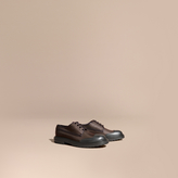 Burberry Textured Check Leather Trim Derby Shoes