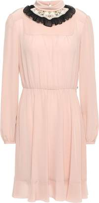 RED Valentino Pleated Embellished Silk Crepe De Chine Mini Dress